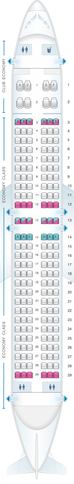 Seat map for Aerolineas Argentinas Boeing B737 MAX 8