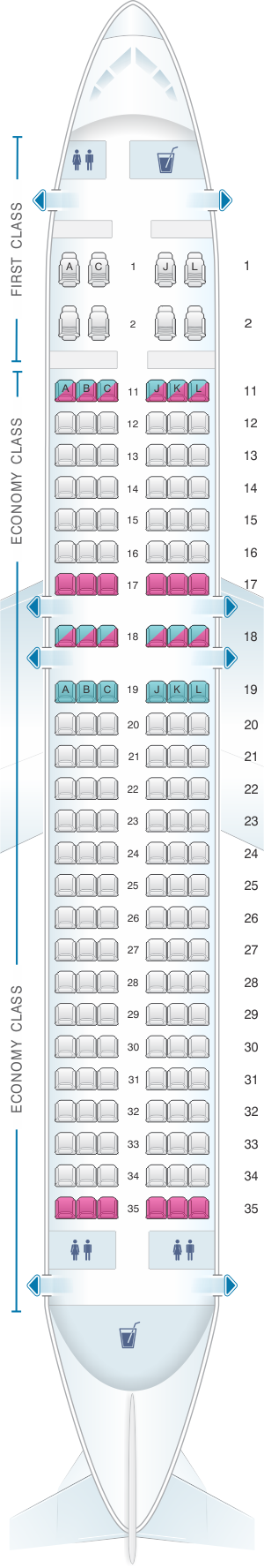 Seat map for Air China Airbus A320 200neo