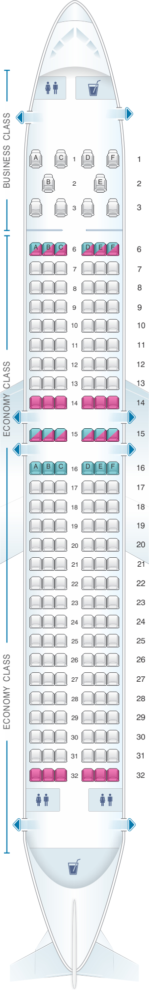 Seat map for Flydubai Boeing B737 MAX 8