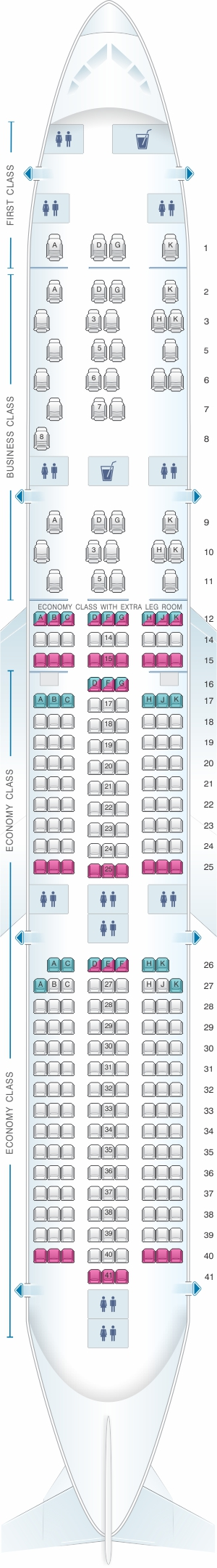 Seat map for Malaysia Airlines Airbus A350 900