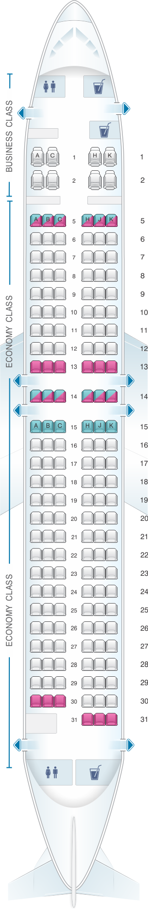 Seat map for ANA - All Nippon Airways Boeing B737 800 domestic
