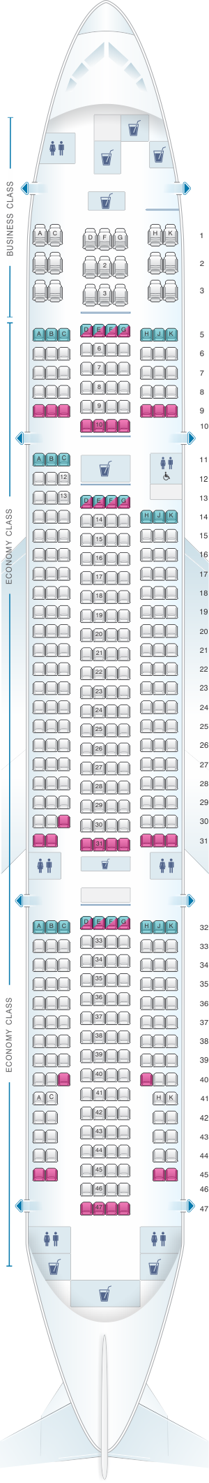 Seat map for ANA - All Nippon Airways Boeing B777 200 domestic
