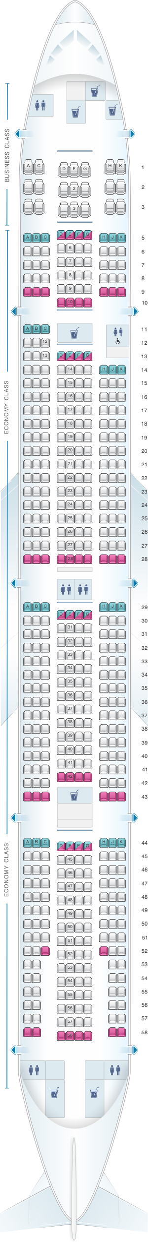 Seat map for ANA - All Nippon Airways Boeing B777 300 domestic