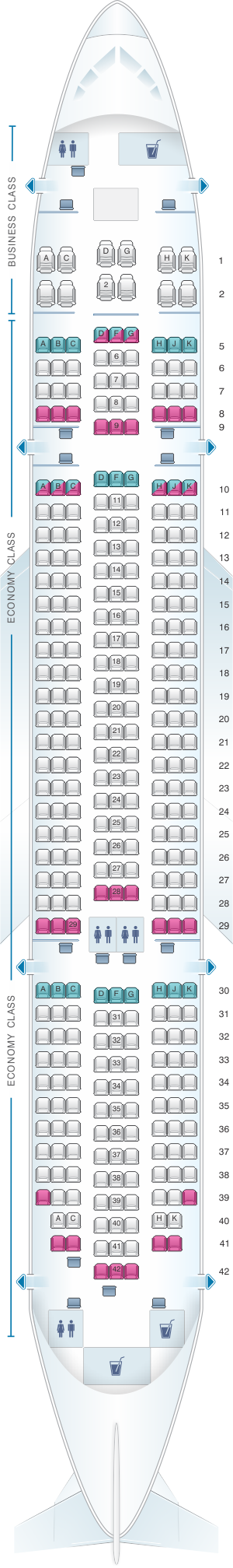 Seat map for ANA - All Nippon Airways Boeing B787-8 domestic