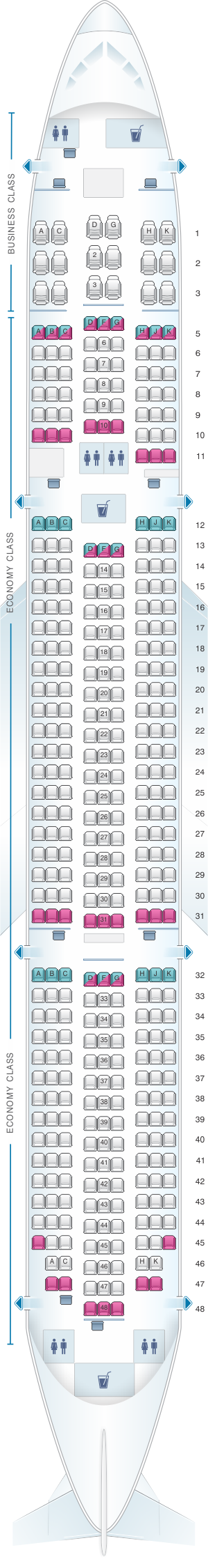 Seat map for ANA - All Nippon Airways Boeing B787-9 domestic