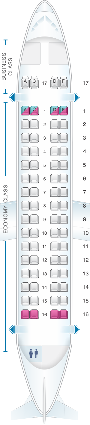 Seat map for Air Europa ATR 72 V1