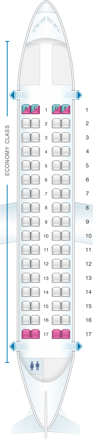 Seat map for Air Europa ATR 72 V2