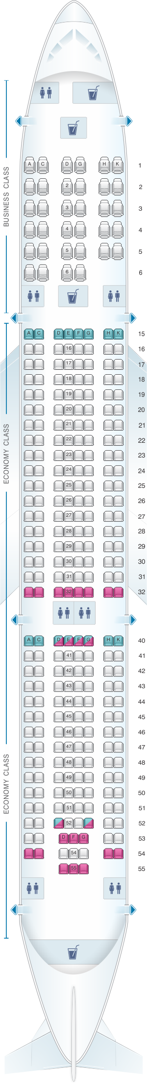 Seat map for Air Europa Airbus A330 300