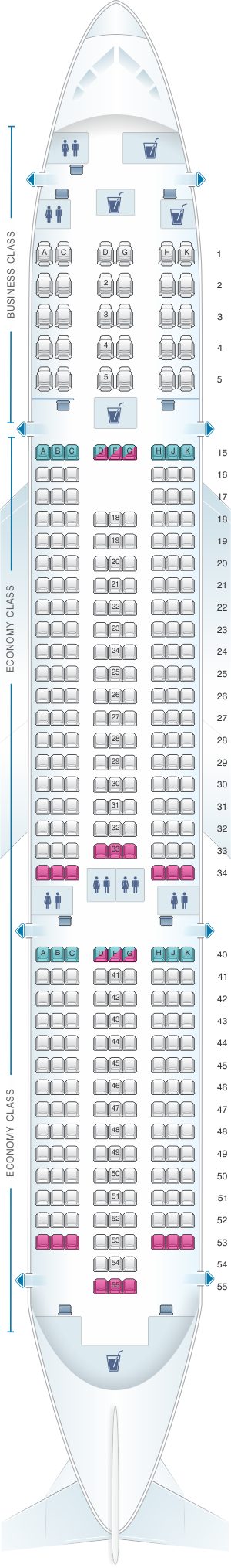 Seat map for Air Europa Boeing B787 9