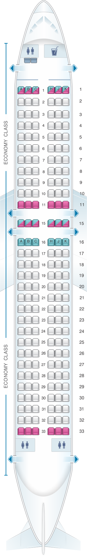 Seat map for Air Transat Airbus A320 200