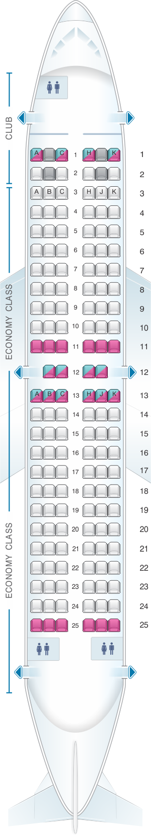 Seat map for Air Transat Boeing 737-700 Canada