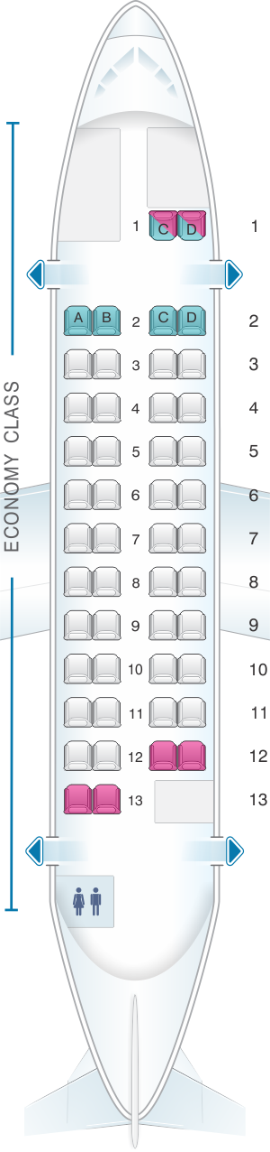 Seat map for Japan Airlines (JAL) ATR 42 600