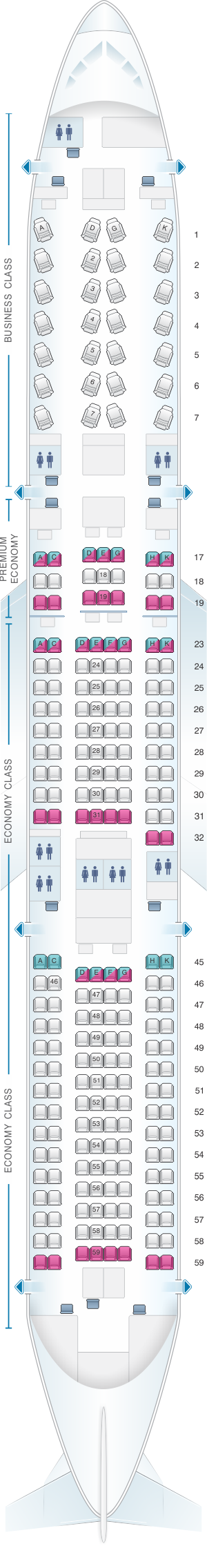 Seat map for Japan Airlines (JAL) Boeing B787-9 E92