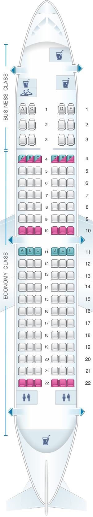Seat map for MIAT Mongolian Airlines Boeing B737 700