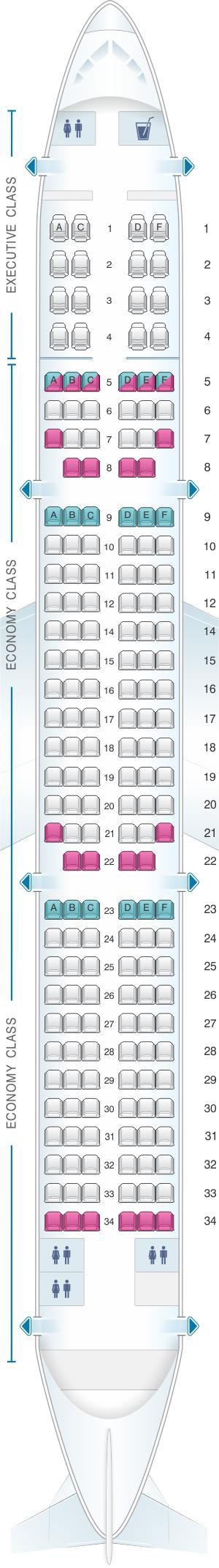 Seat map for SATA Air Açores Airbus A321 neo