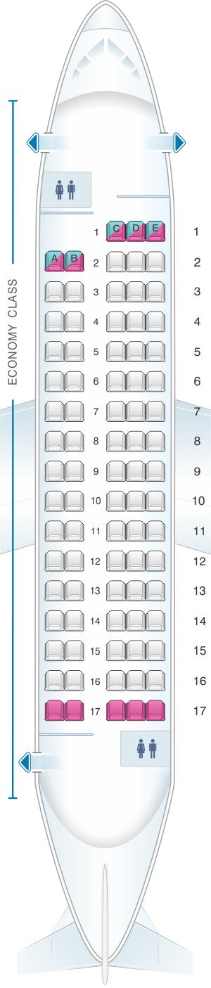 Seat map for Saravia Antonov AN-148