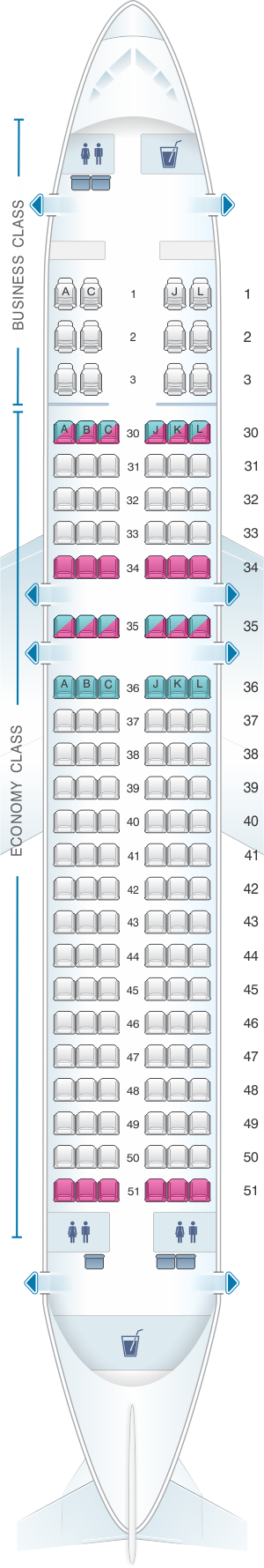Seat map for Saudi Arabian Airlines Airbus A320 200 CEO