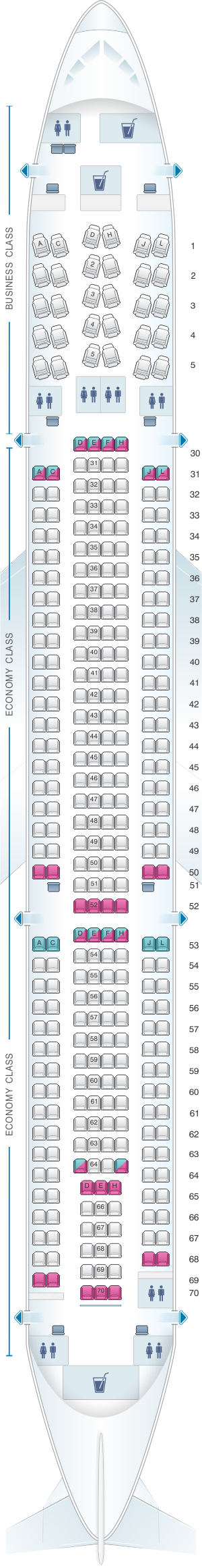Seat map for Saudi Arabian Airlines Airbus A330 300 343R