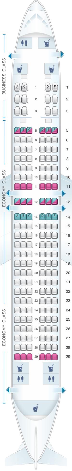 Seat map for SilkAir Boeing B737 800 Max 8