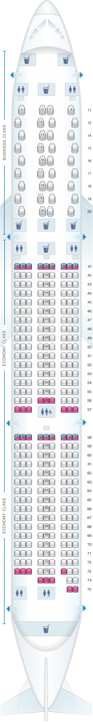 Seat map for Singapore Airlines Boeing B787 10