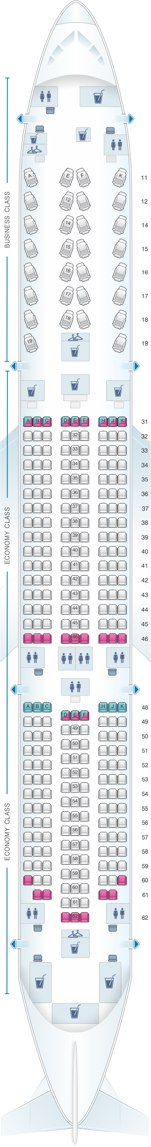 Seat map for Thai Airways International Boeing B787 9
