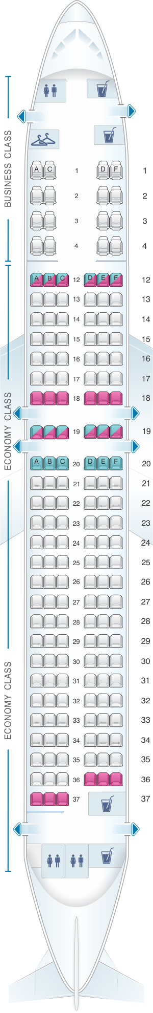 Seat map for Air Canada Boeing B737 MAX 8