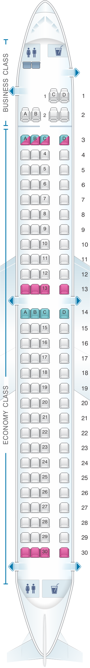 Seat map for TAP Air Portugal Embraer E195