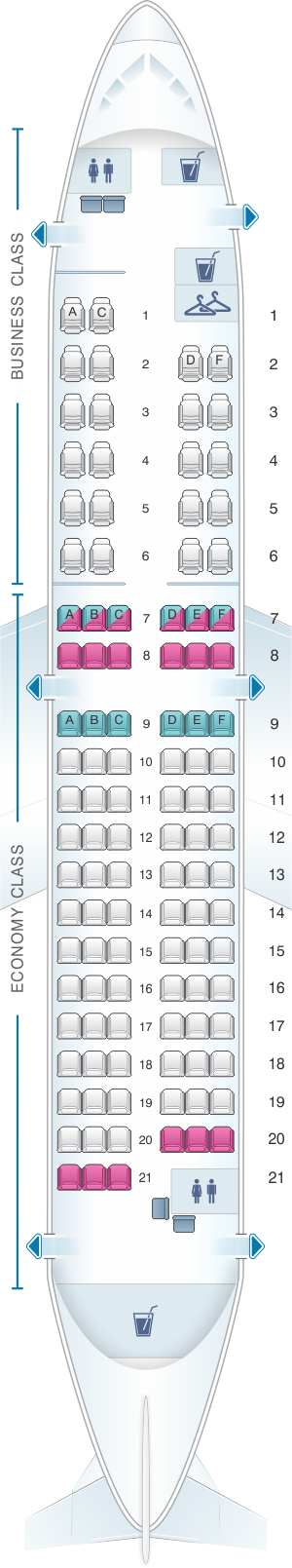 Seat map for TAROM Airbus A318 111 107pax