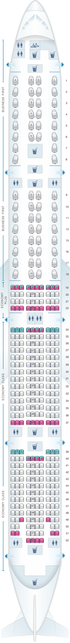Seat map for United Airlines Boeing B777 300ER
