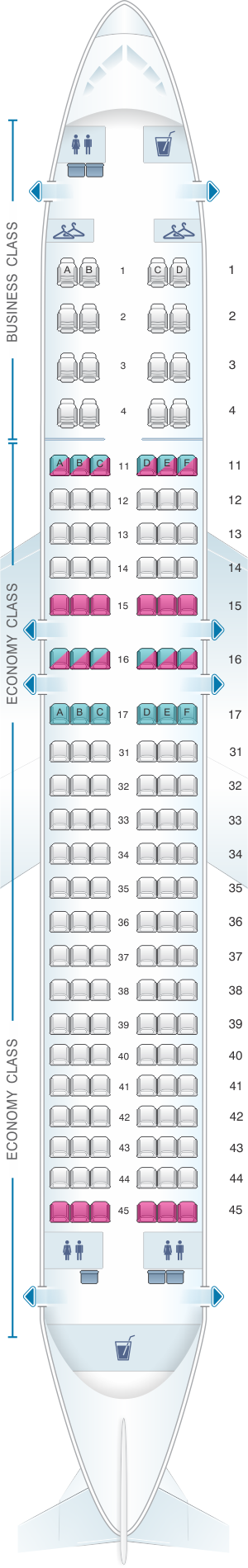 Seat map for Air Astana Airbus A320NEO