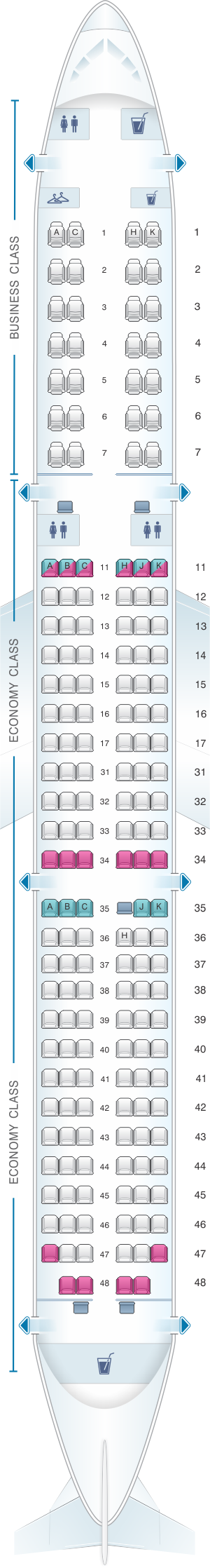 Seat map for Air Astana Airbus A321NEO