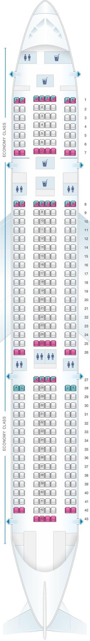 Seat map for Air Caraibes Airbus A330 200 318PAX
