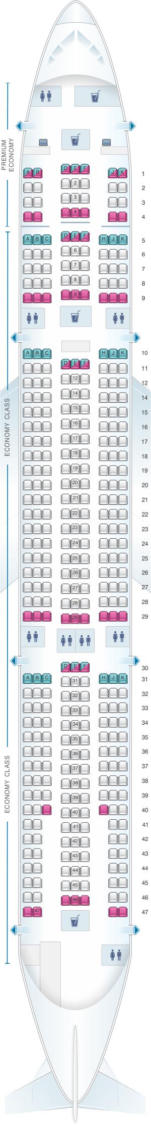 Seat map for Air Caraibes Airbus A330 300 378PAX