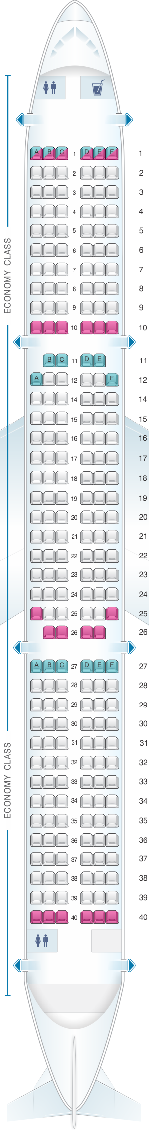 Seat map for Cebu Pacific Air Airbus A321