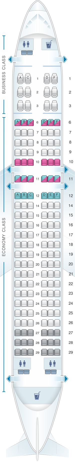 Seat map for SriLankan Airlines Airbus A320 NEO