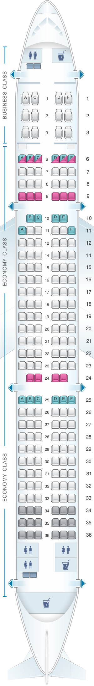 Seat map for SriLankan Airlines Airbus A321 NEO