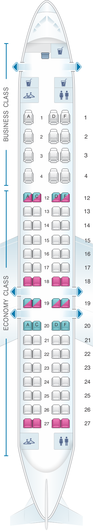 Seat map for Air Canada Bombardier CRJ900
