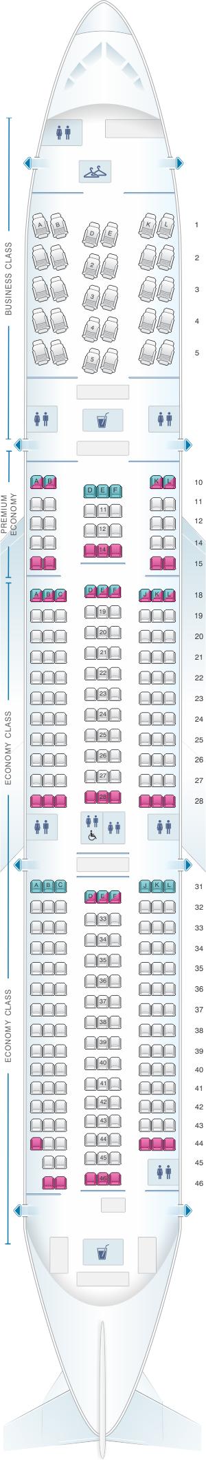 Seat map for Air Tahiti Nui Boeing B787 9