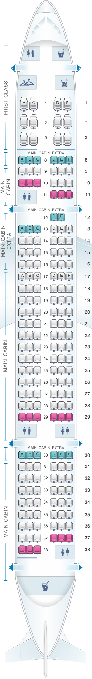 Seat map for American Airlines Boeing B757 200 188PAX