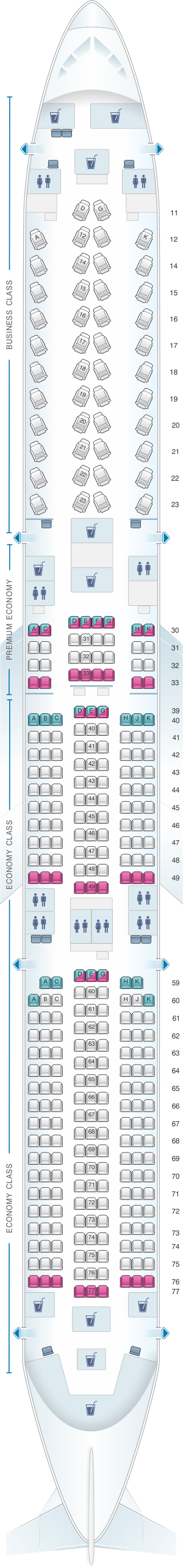 Seat map for Cathay Pacific Airways Airbus A350-1000