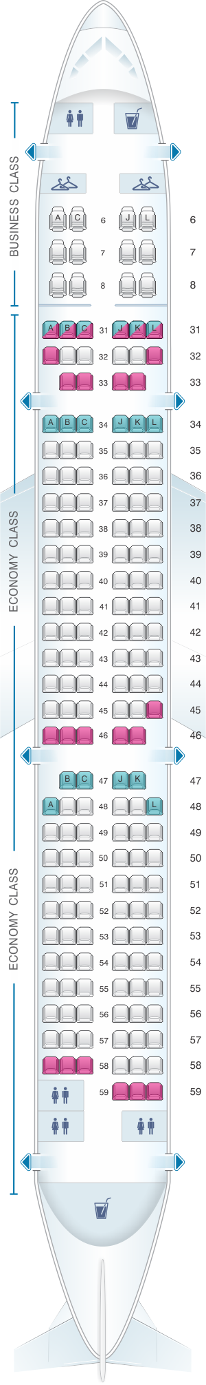 Seat map for China Eastern Airlines Airbus A321 200 178PAX