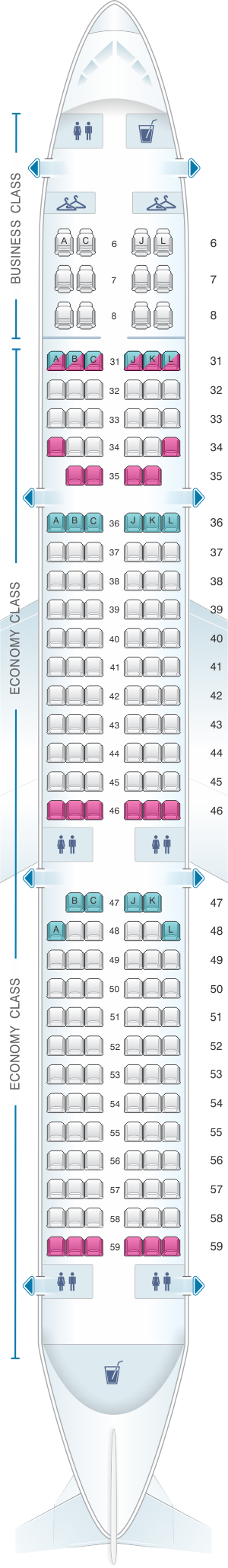 Seat map for China Eastern Airlines Airbus A321 200 182PAX