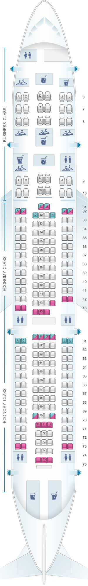 Seat map for China Eastern Airlines Airbus A330 200 232PAX V1