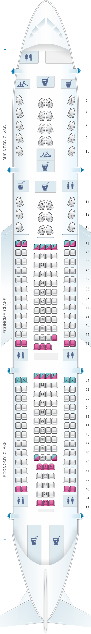 Seat map for China Eastern Airlines Airbus A330 200 232PAX V2