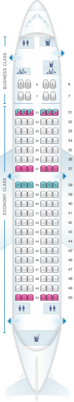 Seat map for China Eastern Airlines Boeing B737 700 128PAX