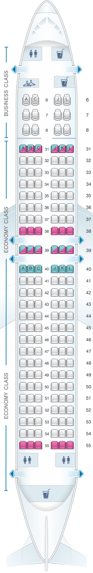 Seat map for China Eastern Airlines Boeing B737 800 162PAX