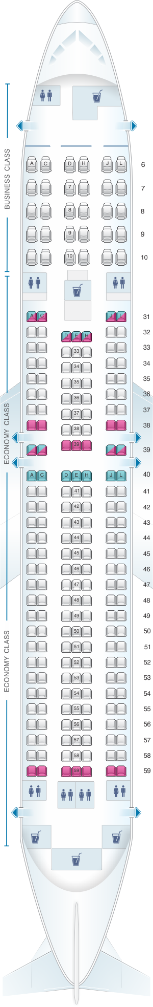 Seat map for China Eastern Airlines Boeing B767 300