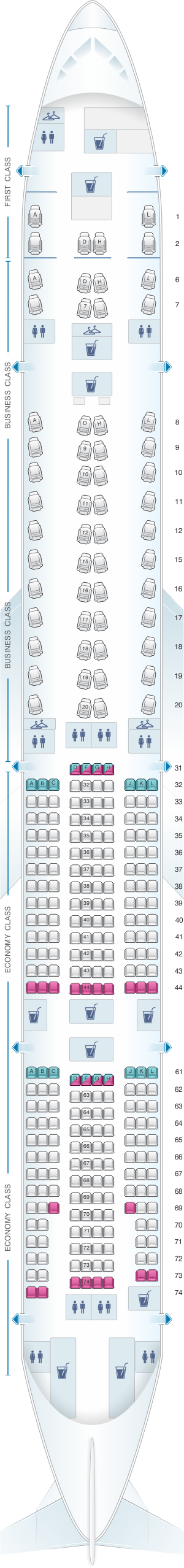 Seat map for China Eastern Airlines Boeing B777 300ER