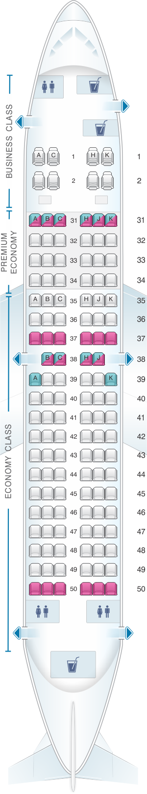Seat map for China Southern Airlines Boeing B737 300