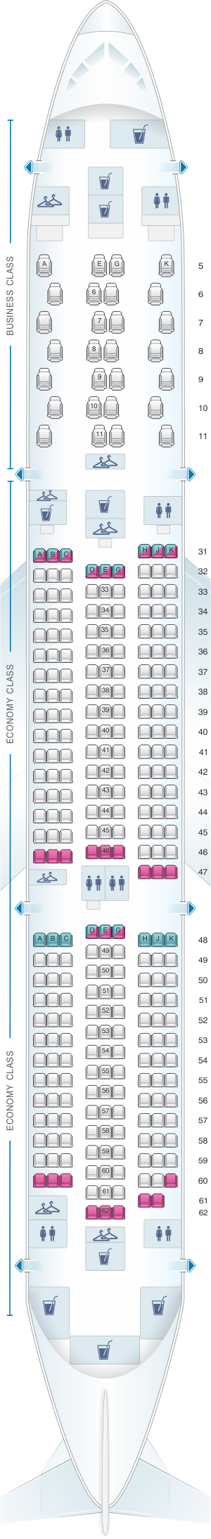 Seat map for China Southern Airlines Boeing B787 9 (78W)